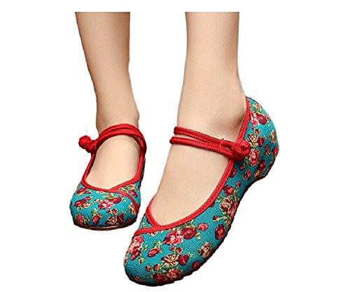 Lazutom Vintage estilo chino mujeres bordado Zapatos Mary Jane zapatos de vestido de Qipao, color verde, talla 39 EU