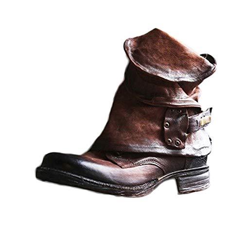 Leder Stiefe für Damen Retro Blockabsatz Stiefeletten Frauen Bequeme Schuhe mit Rutschfester Sohle Mode Herbst Winter Casual Boots Schuhe Stiefel B Braun 38 EU -