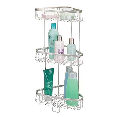 Mdesign pratico portaoggetti doccia ad angolo - portasapone, porta shampoo e bagnoschiuma con tre ripiani - porta accessori doccia in metallo - argento opaco