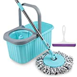 #9: Smile Mom Spin Mop with Bucket Set, Easy Wheels for Best 360 Degree Floor Cleaning & Refill Head, Free Wiper