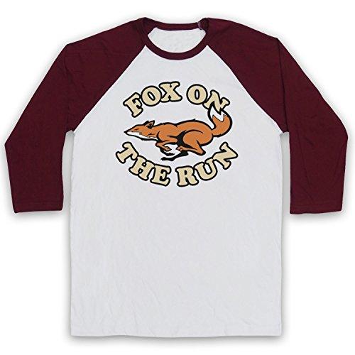 Inspired Apparel Inspiriert durch Sweet Fox on The Run Inoffiziell 3/4 Hulse Retro Baseball T-Shirt, Weiß & Burgund, Medium Wmns Sweet