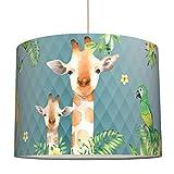 anna wand Lampenschirm JOLLY JUNGLE/BLAU – Schirm für Kinder/Baby Lampe mit Dschungel-Tieren versch. Farben – Sanftes Licht für Tisch-, Steh- & Hängelampe im Kinderzimmer Mädchen & Junge