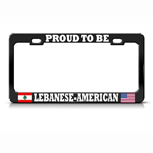 Schwarzes Metall-Kennzeichenrahmen mit libanesischen amerikanischen Flaggen, ideal für Männer und Frauen, Auto-Garadge-Dekoration Nova Hängen