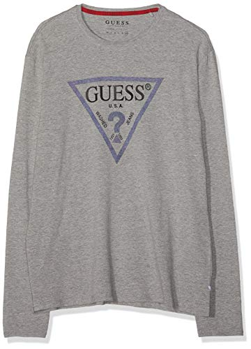 Guess Herren Cn Ls Denim Triangle Langarmshirt, Grau (Stone Heather Grey M Shgy), Medium