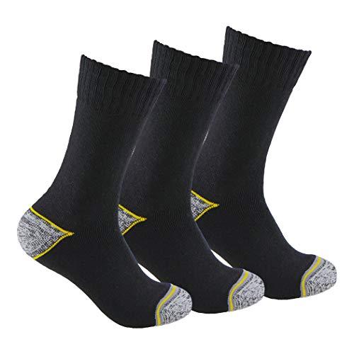 TRABAJO Socken (3 Paar) SIN Ganzjahres-Socken mit verstärkter Ferse und Zehe, ideal für den Einsatz mit Sicherheitsschuhen und für Wintersportarten oder bei Kälte und Nässe., Schwarz , 43-46