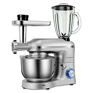 Cookmii-3-in-1-Universal-Kchenmaschine-1800W-Multifuntionale-Knetmaschine-6-stufige-Geschwindigkeit-Mixermit-Fleischwolf-15L-Saftpresse-55L-Edelstahlschssel