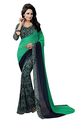 J B Fashion Women\'s Multi Colour Georgette Saree With Blouse Material (GREEN1)
