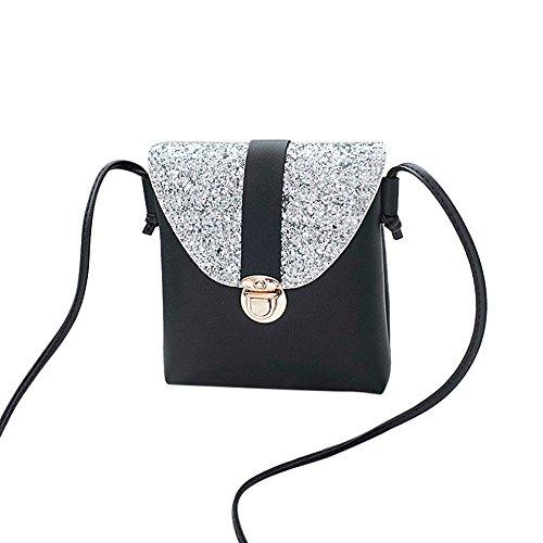 Zolimx Portable diagonal kleine quadratische Tasche Umhängetasche Handtasche, Frauen Mode Solid Color Lock Pailletten Umhängetasche Tasche (Schwarz)