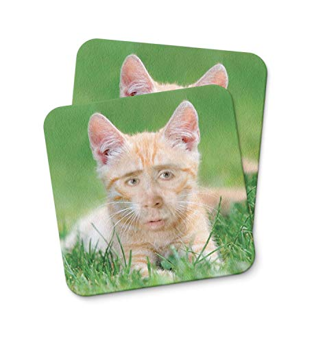 Nicolas Cage Ginger Cat Coaster For Drinking Coffee Tea Beverages Kitchen Home Décor Gift Coaster PACK/SET OF 2 -