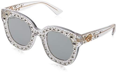 Gucci Damen GG0116S 001 Sonnenbrille, Weiß (Crystal/Silver), 49