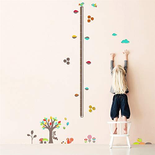 Höhenmessung Wandaufkleber,Cartoon Wald Baum Tier Blume Höhe Messen Abnehmbare Wand Aufkleber Für Kinder Zimmer Einrichtung PVC-Plane Wachstumsdiagramm Art Fashion Dekoration