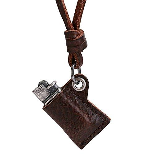 feuerzeug kette AmDxD Schmuck Herren Halskette Anhänger Edelstahl Feuerzeug Silber Braun Leder Kette Größe 71X4.5X3CM