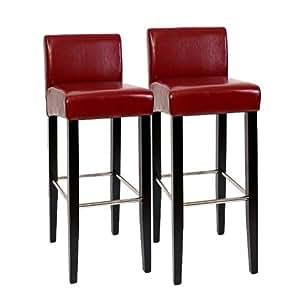 Lot de 2 tabourets de bar N25, bois/cuir, 37x44x102cm, rouge