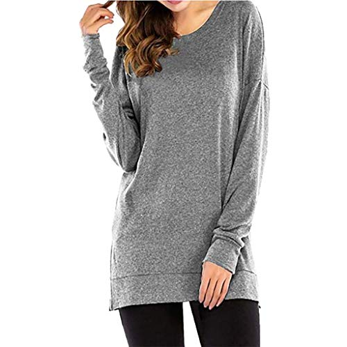 kolila Damen Casual Langarmshirts Oberteile Basic Einfarbig Rundhals Lose Split Hem T-Shirts Bluse Tops Performance Microfleece-pullover
