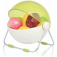 Frutero Redondo con Tapa, Color de Caramelo Sala de Estar Decoración Elegante Placa de la Fruta Fruta Snack Recipiente de Almacenamiento-Verde