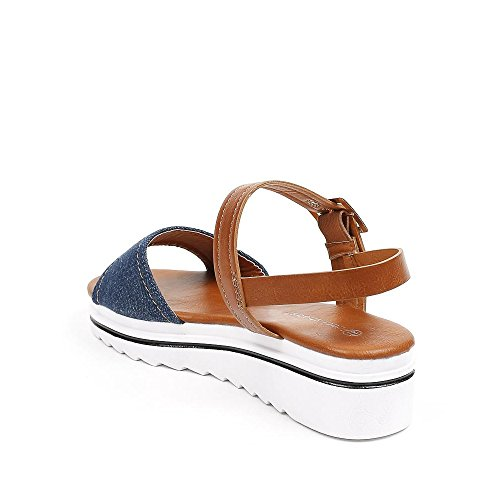 Ideal Shoes Sandales Compensées BI-Matières Liliana Bleu