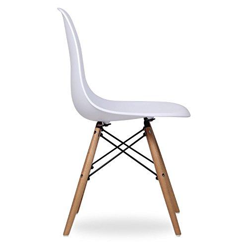 confronta il prezzo Set 4 Sedie mod. DSW bianca in polipropilene e gambe in legno di faggio miglior prezzo