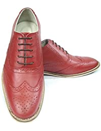e0514a270f4 ASM High Fashion Red Color Italian Leather Brogue Shoes with Handmade  Neolite Sole