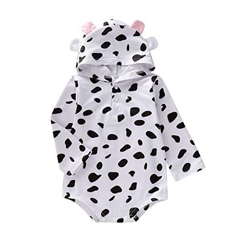 Neugeborenes Baby Strampler Jungen Mädchen Unisex Schlafstrampler Bärchen, Langarm Kuh Print Baumwolle Pyjamas Cartoon Strampler