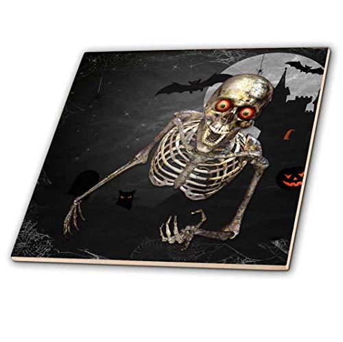 ett auf Friedhof mit Kürbissen auf Halloween, Keramikfliese, 30,5 cm (ct_202987_4) ()
