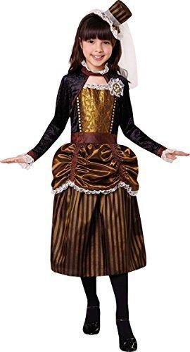 onlyglobal Kinder Mädchen Kostüm Party Buchwoche Tag Viktorianischer Steampink Mädchen Kostüm - Braun, Large 134cm - 146cm (Steampunk-kostüm Für Kinder-mädchen)