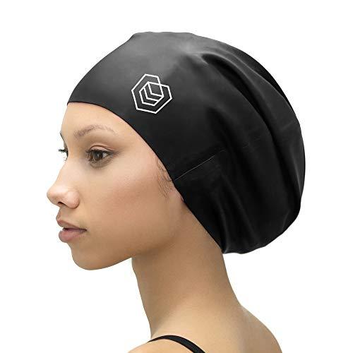 SOUL CAP XL - extra große Badekappe / Schwimmkappe / Bademütze / Duschhaube | für langes Haar, Dreadlocks, Weaves, Extensions, Rastazöpfe, Locken & Afrohaare | für Frauen und Männer | 100 % Silikon (Schwarz)