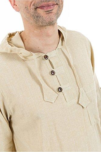 - Chemise manches modulables et capuche natural teufer - Blanc / écru