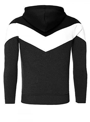 AKITO TANAKA Herren Sweatshirt 18144 Sweater Pullover mit Kapuze Stehkragen tube collar slim fit kontrast look Schwarz / Anthrazit