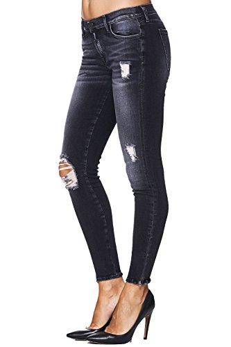 7 for all Mankind Jeans SKINNY CROP After Dark Destroyed – Schwarz