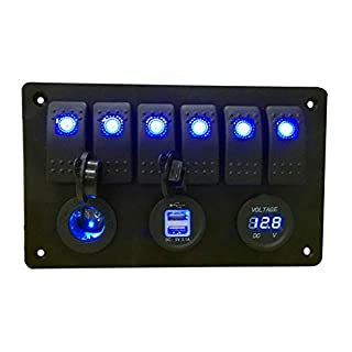 ASHOP 6 Gang Blue LED Rocker Switch Panel Circuit Breaker Car RV Marine Boat