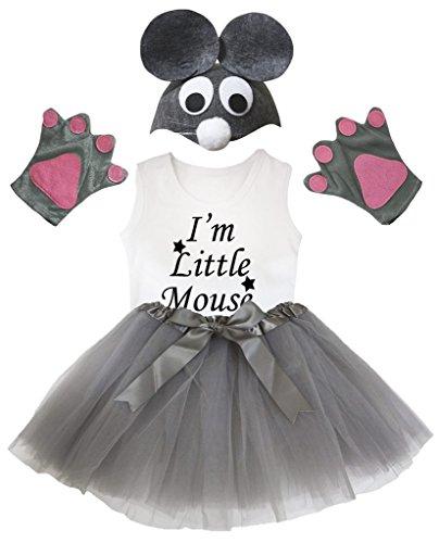 Ein Bin Maus Kostüm Ich - Petitebelle Ich bin Mäuschen Shirt Grau-Hut-Handschuh-Rock-Mädchen 4pc Kostüm 6-8 Jahre Grau-weiß