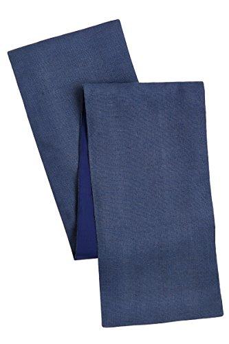 Cotton Craft Tischläufer, Jute, Jute, mit Spitze, 30,5 x 108 cm, natürlich, perfektes Accessoire für Ihren Esstisch, nur Fleckenreinigung, 2 Stück 13x72 blau