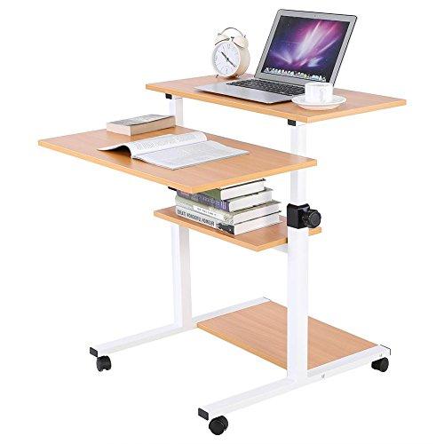 Mobile Pc-wagen (Handy Schreibtisch Workstation-Computer für Computer PC Tisch mit Rollen in Haus und Büro Wagen Speicherkapazität höhenverstellbar 71~ 94cm Farbe Holz)