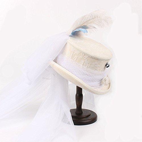 SAN QIAN WAN- Viktorianischer gotischer Elfenbein-Spitze-weißer Hochzeits-Hut Steampunk Hut-Spitzenhut Warm und romantischer Feder-Hut Hut ( Farbe : 1 , größe : 55cm (Hut Viktorianischer)
