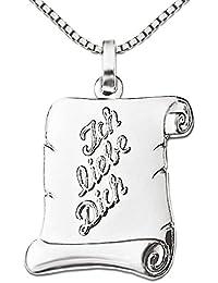 CLEVER SCHMUCK-SET Silberner Anhänger Brief 16 mm seidenmatt mit Ich liebe Dich - Schrift erhaben teils glänzend mit Kette Venezia 45 cm STERLING SILBER 925 im Etui