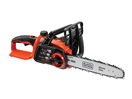 BLACK+DECKER GKC3630LB-XJ GKC3630LB-XJ Tronçonneuse sans fil - Sans batterie - Vitesse de chaine : 5 m/s - Griffe 5 dents - Double interrupteur et protection main gauche 550W, 36V, Noir, Orange, 30 cm