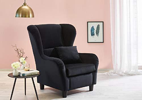 lifestyle4living Ohrensessel in schwarz im Landhausstil | Der perfekte Sessel für entspannte, Lange Fernseh- und Leseabende. Abschalten und genießen!