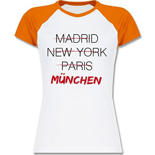 Städte - Weltstadt München - zweifarbiges Baseballshirt / Raglan T-Shirt für Damen Weiß/Orange