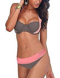 Lannorn Femmes Sexy 5 Couleurs Maillots de Bain push-up Rembourré Deux pièces High Waisted Hors épaule Bikini Set