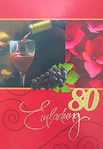 Einladungskarten 80. Geburtstag Frau Mann mit Innentext Motiv Rotwein 10 Klappkarten DIN A6 im Hochformat mit weißen Umschlägen im Set Geburtstagskarten Einladung 80 Geburtstag Mann Frau K131