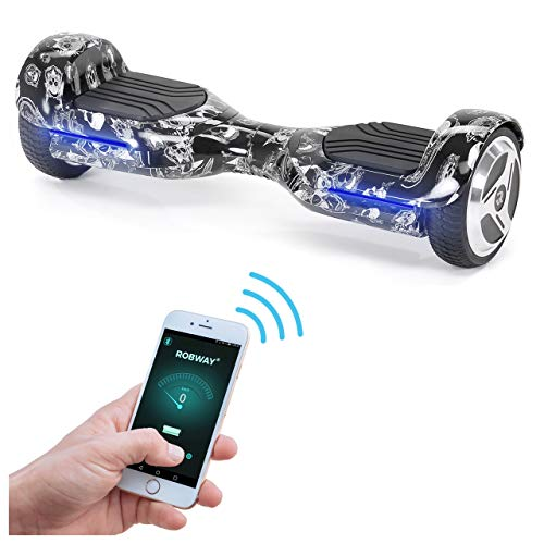 Robway Rg1 Hoverboard - Das Original - Self e Balance - 2 x 350 Watt Motoren - Led 16 Mio Farben - Bluetooth - App - Lithium Akku (Black Skull)