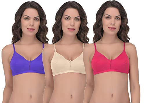 Fabme Women's Full Cup Non Padded Non Wired Bra (Pack of 3) (PO3-BR0258_Blue, Cream, Dark Pink_36B)