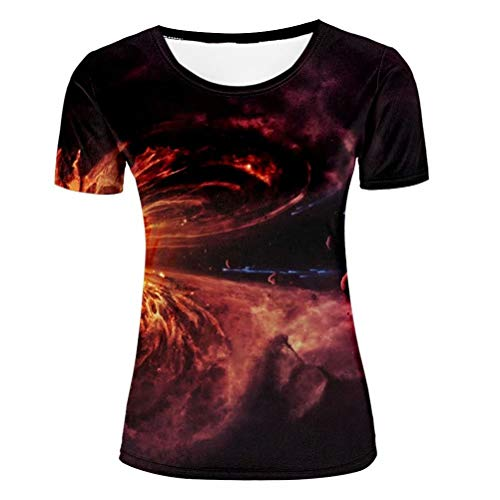 3D Graphic Galaxy Red Nebula Print T Shirts for Women Universe Tshirts Casual T-Shirt Crew Neck Tee S