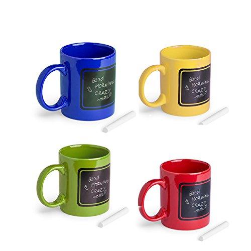 Lote de 12 tazas de cerámica de colores, con pizarra para pintar. Incluye tiza. Ideal para regalar a los niños en cualquier evento. Comuniones, Cumpleaños, Bodas.