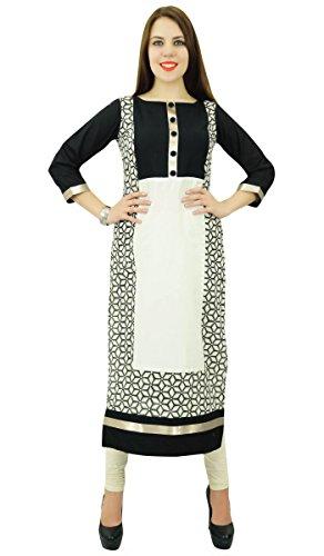 Phagun Coton Géométrique Ethnique Femmes Kurta Designer De Vêtements Casual Robe Kurti Blanc et noir