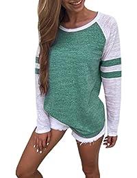 a3e5f137850fd Toamen Women s Simple Casual Autumn Loose Round Neck Long Sleeve Tops  Blouse Jumper T-Shirt