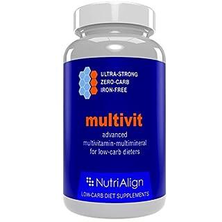 Low-Carb Diät Multivitamine. Optimiert für Atkins, Keto und vergleichbaren Low-Carb Diäten. Extra stark, frei von Eisen, Zuckerfrei, null Kalorien. 90 Kapseln