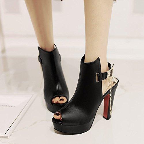 Mee Shoes Damen Peep toe Blockabsatz Plateau Sandalen Schwarz