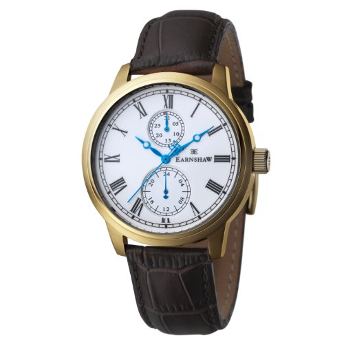 Thomas Earnshaw ES-8002-02 - Reloj para hombre con esfera analógica de color blanco y correa de cuero negra