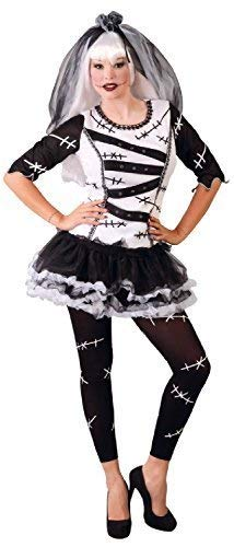 Monster Braut Kostüm - Fancy Me Damen Frankenstein Gruselig Unheimlich Schwarz Weiß Monster Braut Halloween Kostüm Kleid Outfit 16-18